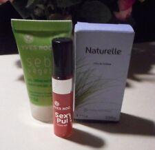 3 try me Yves Rocher products; Eau de Toilette, lip gloss, matifying gel cream