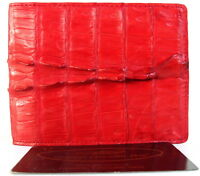 100% REAL GENUINE CROCODILE LEATHER TAIL SKIN MEN'S BIFOLD WALLET SHINY RED NEW