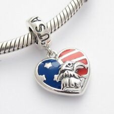 USA DANGLE WITH EAGLE CHARM Bead Sterling Silver.925 for European Bracelets 438