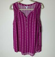 Sonoma NEW Women's Sleeveless Tank Top Size Large Purple White Casual NWT