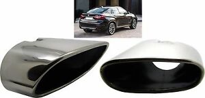 Double Chrome Exhaust Pipe Muffler Tip Stainless Steel Fits BMW X6 E72 Weld On