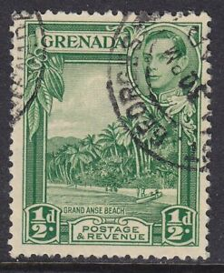 GRENADA 1938-50 SG153 ½d PERF 12x13 YELLOW-GREEN FINE USED