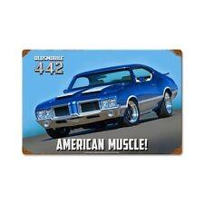Original GM Olds Oldsmobile Cutlass 442 American Muscle Sign Blechschild Schild