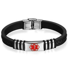 Men's Stainless Steel Silicone Rubber Medical Alert Logo ID Bracelet Bangle Cuff