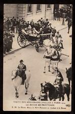 1914 Queen Mary in carriage visits Paris France royalty postcard