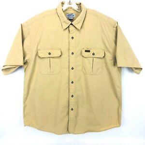 Carhartt 2 Pocket Mustard Button Up Short Sleeve Heavy Work Shirt Men Size XL