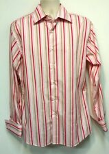 Roar Buckle Pink Men's Striped Dress Shirt French Cuffs - Size Large