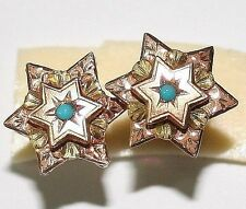ANTIQUE FRENCH VICTORIAN BI COLOR 18K GOLD TURQUOISE STAR STUD EARRINGS c 1880