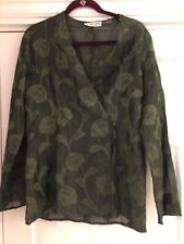 Giorgio Armani BLOUSE SHIRT TOP Le Collezioni SHEER Green FLORAL Size 12