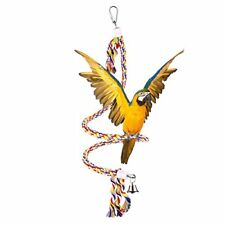 49 Inch Bird Bungees Rope Toy Hanging Spiral Parrot Perch Play Ring Bell Medium