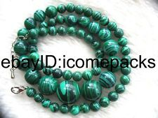 """malachite agate green manmade  round 6-14mm  necklace 18"""" nature wholesale"""