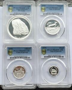 Umm Al Qaiwain 1970 Historical Site PCGS PR68 Set of 4 Silver Coins,Rare