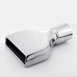 """3"""" Inlet Angle Cut Rolled Outlet Stainless Steel Exhaust Tip Rectangle 10"""" Long"""