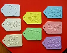 10 Kraft EMBOSSED Gift Swing Tags Bomboniere Christening Baby Shower Cards