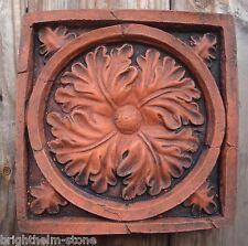 Gothic oak leaf wall tile decorative stone terracotta colour wall plaque 20cm sq