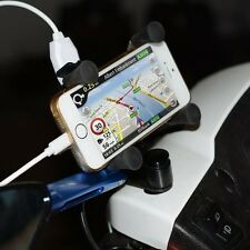 Motorcycle Bike Handlebar X-Grip 3.5-6 Inch Cell Phone Mount Holder USB Charger