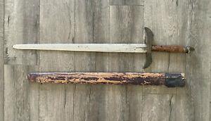 Antique Spanish Colonial Sword Espada Ancha with Wood Sheath