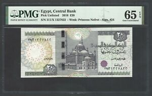 Egypt 20 Pounds 16-10-2016 P Unlisted Uncirculated Grade 65