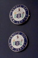 """2 New Jersey 3//4/"""" COLLAR//LAPEL PINS Gold state seal Police//Fire//EMS NJ USA MADE!"""