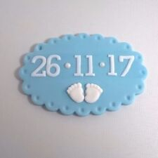1 BABY BOY DATE  PLAQUE edible sugar  cup cake decorations toppers christening
