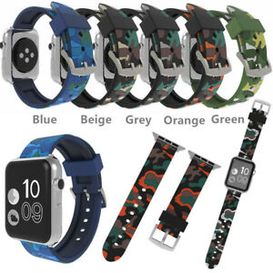 Camo Military Band Silicone Bracelet Strap Replacement For apple watch 654321