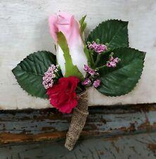 Rose Boutonniere Pink Burlap Groom Best Man Silk Artificial Flower Wedding Prom