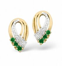 Emerald and Diamond Earrings Yellow Gold Studs Appraisal Certificate