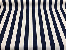 Solarium Outdoor Cabana Stripe Navy Blue white Fabric by the yard