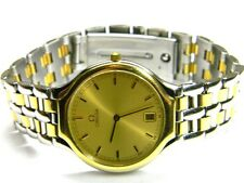 mens Omega Deville Symbol date 18k solid gold stainless steel swiss dress watch