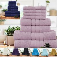 Stripe 8 Pcs Bale Towel Set Face Hand & Bath Towels 100% Egyptian Cotton