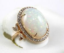 Huge Oval Cut Opal & Diamond Leaf Solitaire Ring 14k Rose Gold 10.47Ct