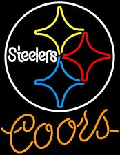 "New Coors Light Pittsburgh Steelers NFL Beer Neon Sign 20""x16"""