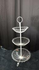 37 Tall 3 Tiered Round White Floor Wire Basket Stand Euc