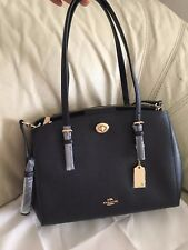NWT Coach Midnight Turnlock Carryall 29 Crossgrain Leather Satchel Bag 37782