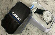 Casio Men's Quartz Blue Chronograph Dial Black Leather 48mm Watch MTPSW300L7TN