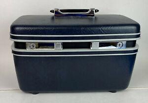 vintage SAMSONITE SENTRY TRAIN VANITY CASE dark blue with keys