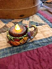 "Jim Shore ""Thanksgiving Harvest Cornucopia Votive Candleholder"" Nib (B)"