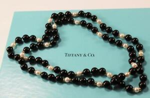 TIFFANY & CO. 585 14K YELLOW GOLD w/ BLACK ONYX & PEARL BEADED NECKLACE, 30 INCH