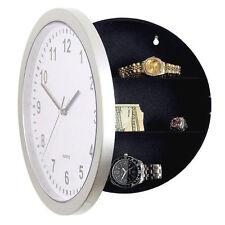 Vintage Style White Hidden Clock Safe Round Wall Clock Strongbox Storage Box