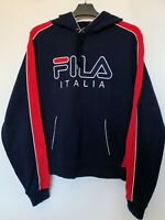Vintage FILA Spell Out Logo Hoodie Sweatshirt in Navy Blue Size S 90s Retro