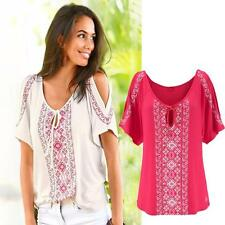 Fashion Women Summer Cotton Print Short Sleeve V-Neck Casual Tops Blouse T-shirt