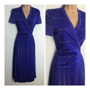 Vintage 80's Purple Diamond Print Short Sleeve Full Wrap Around Dress Size 8-10