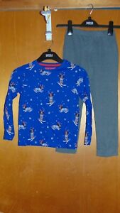 M&S Christmas Daschund Pyjamas 100%Cotton 2 Part Set 5-6y 116cm Blue Mix BNWoT