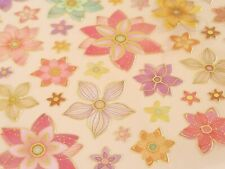 Spring Floral Flowers Clear Gold Foiled Stickers Scrapbooking Crafts Scrapbook