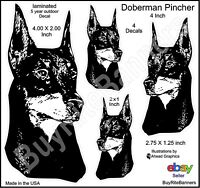 Doberman Pincher Laminated Decal Stickers, 4 Inch, 4 Count. High Quality