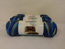 Caron Yarn Simply Soft Yarn Stripes Yarn in Churchill Downs Blue Brown- 3 Skeins