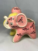 Vintage Pink and Yellow Baby Elephant Ceramic Planter Japan