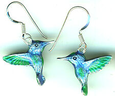 925 Sterling Silver Enamel Humming Bird Earrings Drop / Dangle Blue Green 1.1/4""