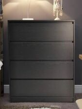 Large Modern Black 4 Drawer Chest Of Drawers Easy To Assemble