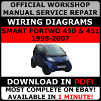official workshop repair manual for smart fortwo 450 451 1998 2007 rh ebay co uk smart fortwo owners manual smart car workshop manual
